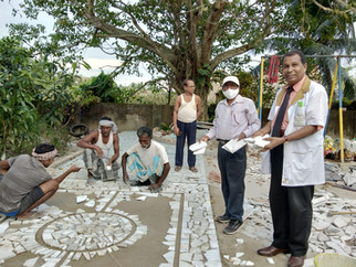 Floor created from collected waste mater
