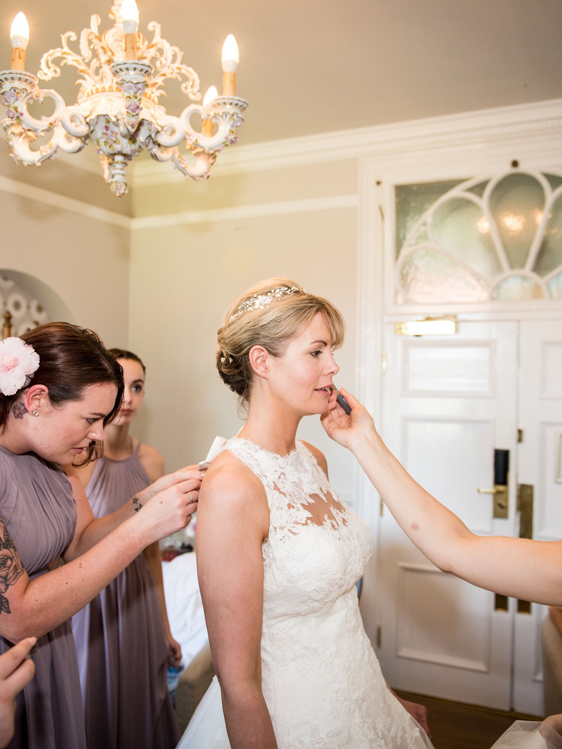 Finishing touches on Bridal Makeup