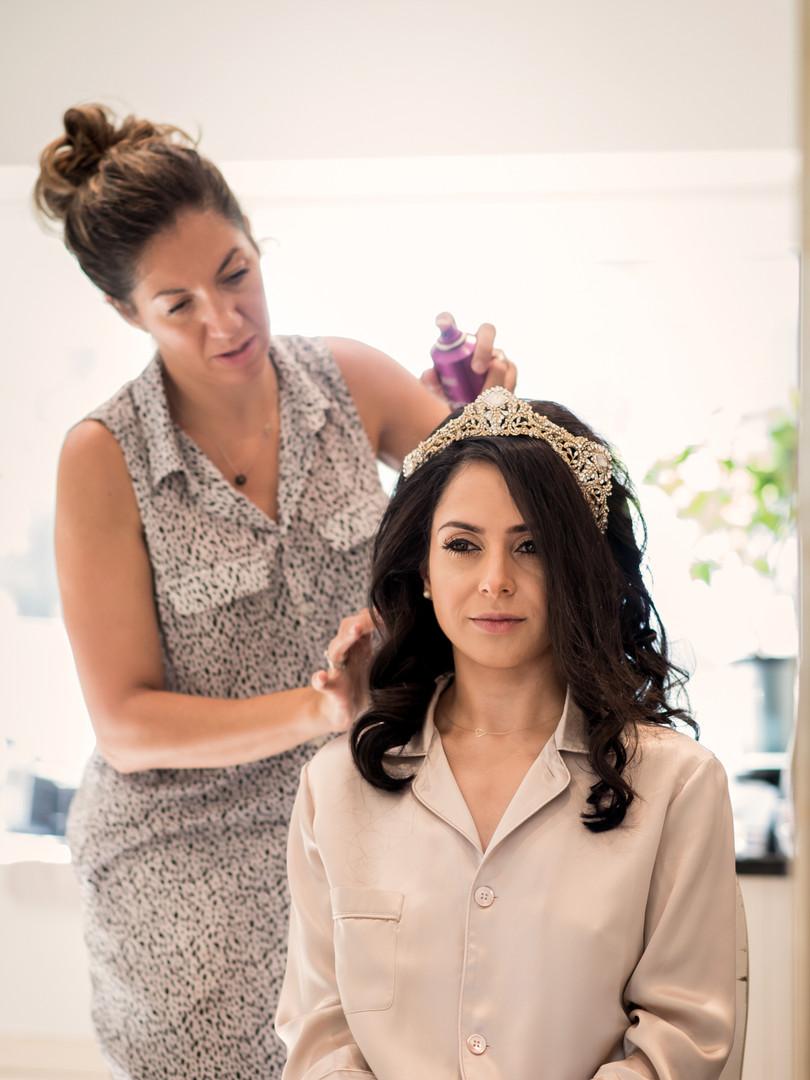 Adding Hair accesories into Bridal Hair