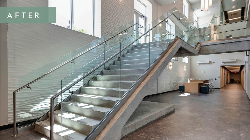 Cox College after renovation- grand stairs