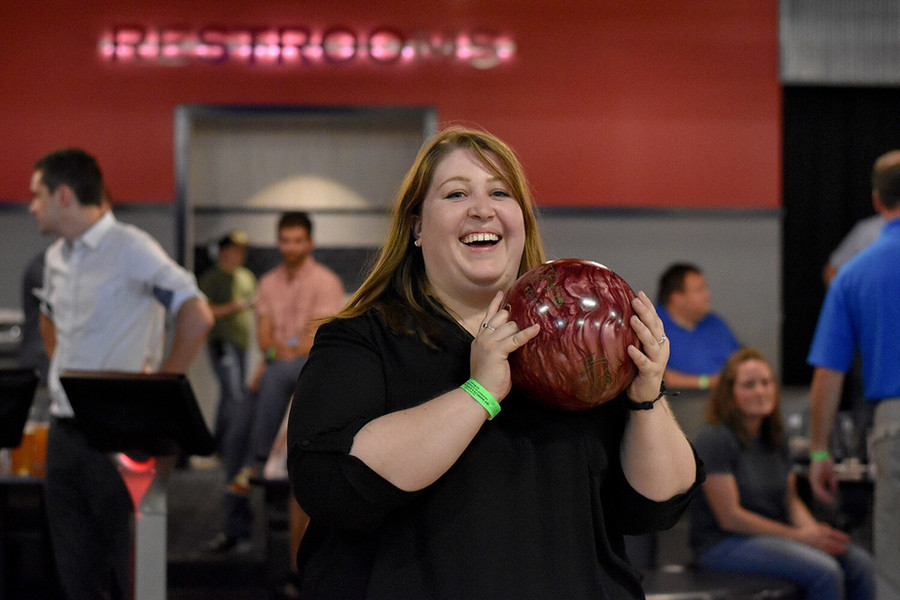 Nicole bowling during the Big Brothers Big Sisters fundraising event