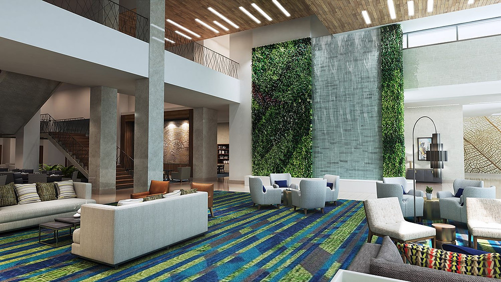 Embassy Suites Hotel & Conference Center Living Wall Rendering in Denton, Texas