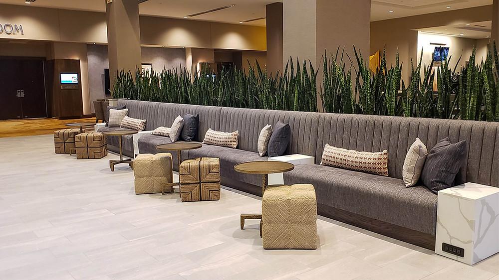 Embassy Suites Jonesboro- View of the lobby couch