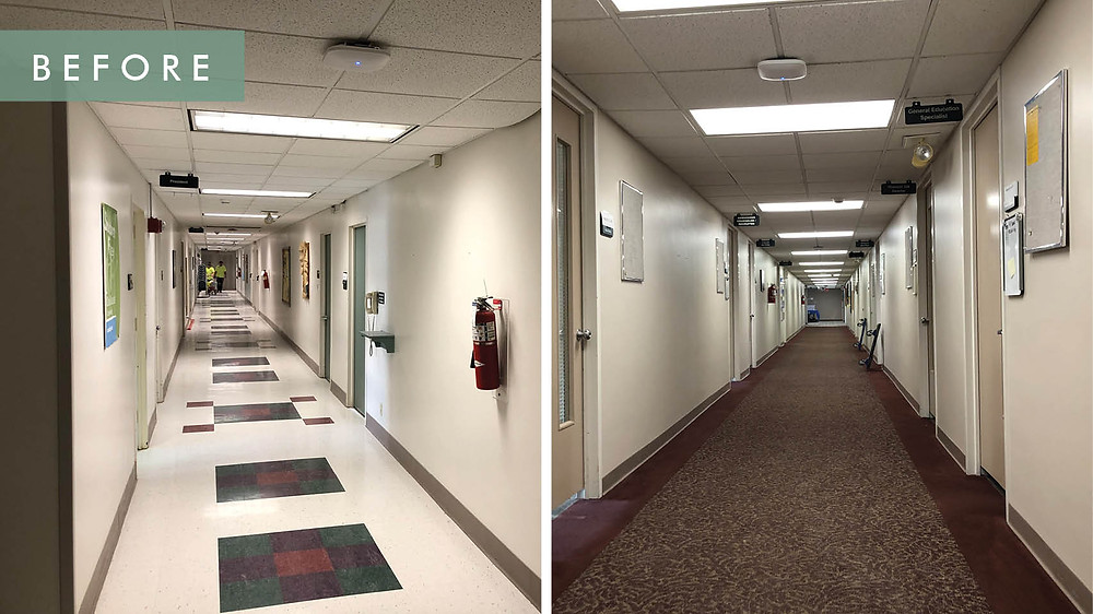 Cox College before renovation- hallways