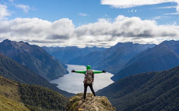 Solo traveler on mountain