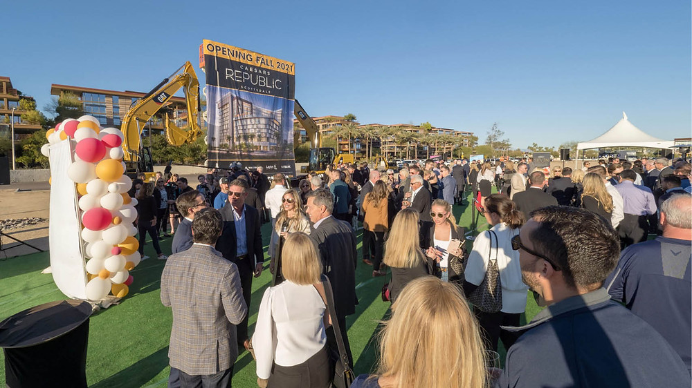 Crowd forms at Caesars Republic Scottsdale Hotel ground breaking ceremony