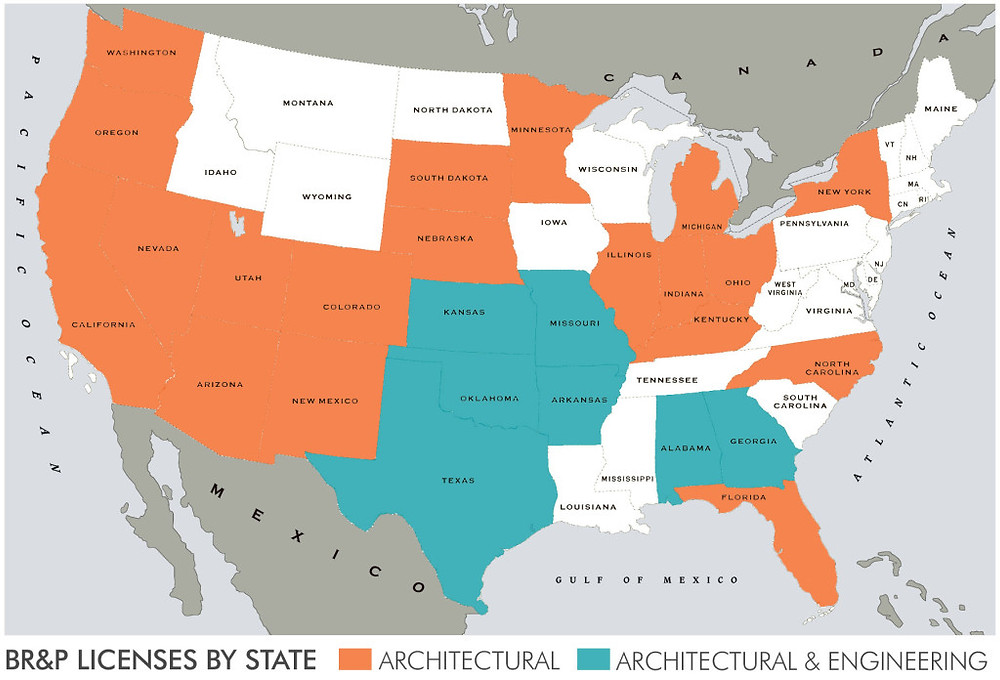 BR&P licenses by state in architectural and architectural and engineering