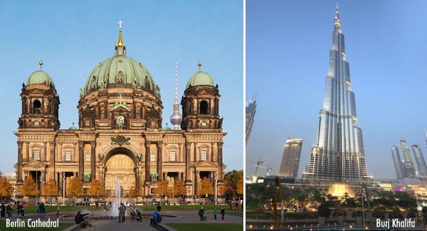 Berlin Cathedral and Burj Khalifa
