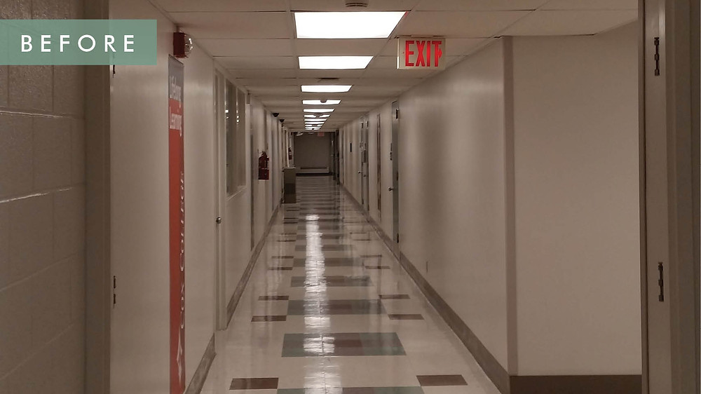 Cox College before renovation- hallway ground floor