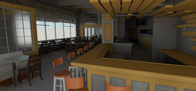 Virtual Reality Rendering of The Aviary Cafe