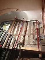 Madrier bois, étaiement escalier