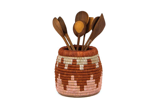 Clay and Dusty Peach Utensil Holder