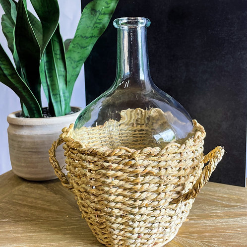 Odessa Glass Bottle With Woven Basket