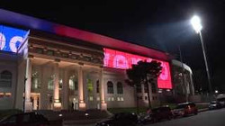 Elias Figueroa Stadium Entrance at Night