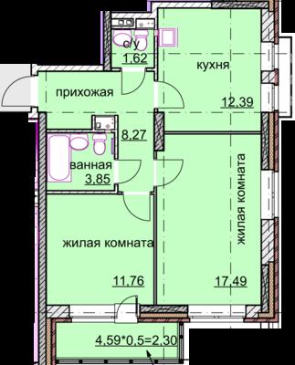 двухкомнатная квартира 57 кв.метров