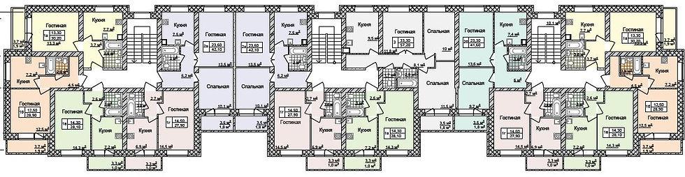 жк дарьинский планировка, дарьинский типовой этаж, расположение квартир