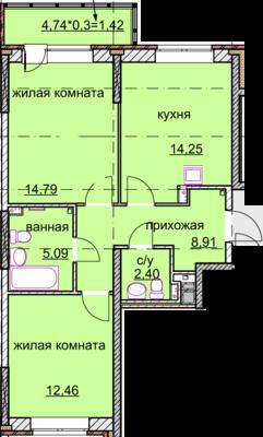 2к.кв. 59 кв. метров