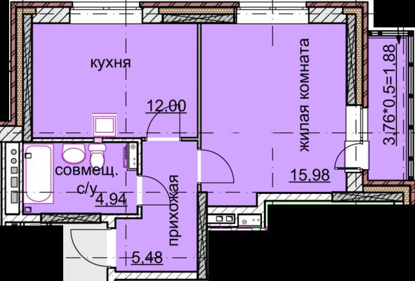 однокомнатная квартира 40 кв.метров