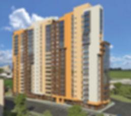 """ЖК """"Аксиома"""" Ижевск, фасад жк аксиома, Новостройки Ижевска, жк аксиома, северный фасад жилого комплекса, проект, макет, северная сторона, со стороны парковки, паркинг, внешний двор"""