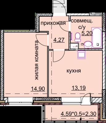 1к.кв. 39.8 кв. метра