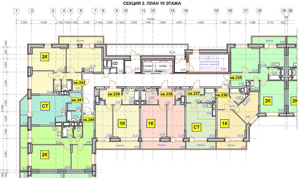 А-10 строение 13.1 2я секция, планировки второй секции 13/1