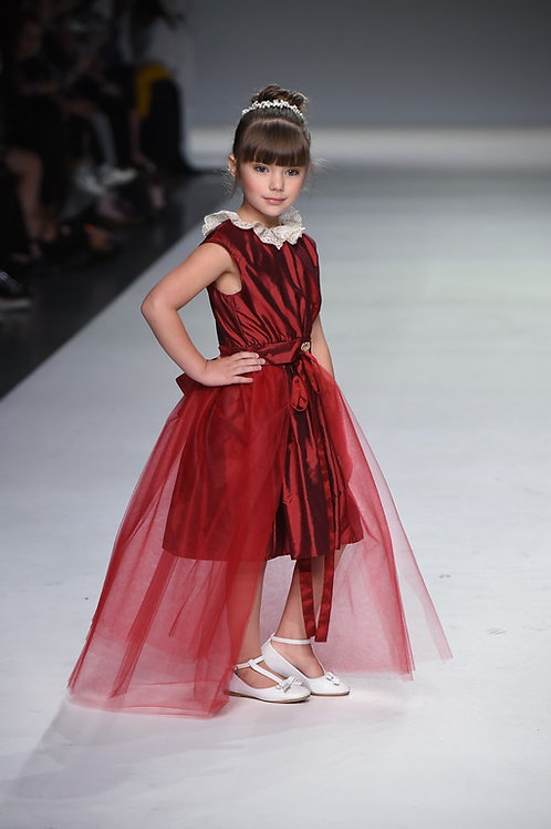 RUBY RED SILK DRESS W TULLE OVERSKIRT