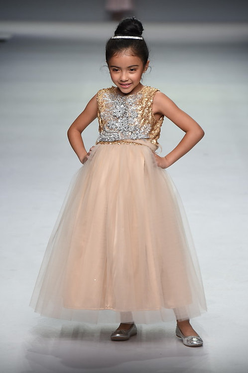 GOLD SEQUIN AND TULLE GOWN