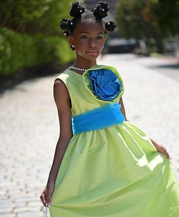 Lime Green Taffeta Gown