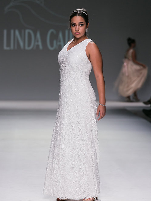 WHITE SEQUIN GOWN