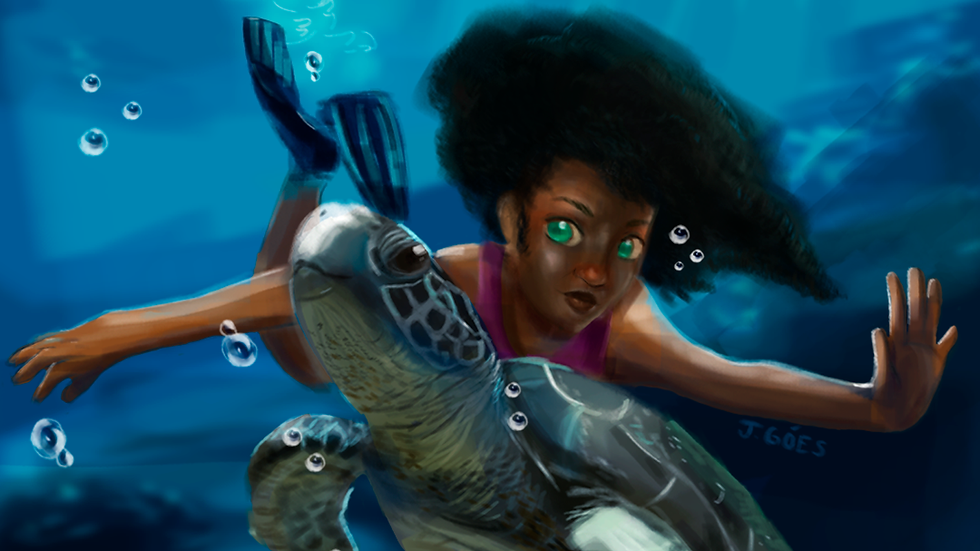 Nadando com tartaruga