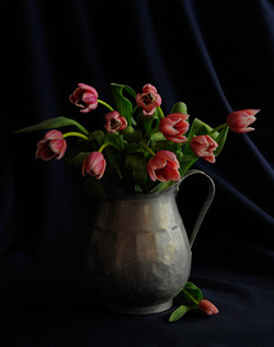 Tulips on Old Pitcher