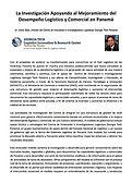 La Investigación Apoyando al Mejoramiento del Desempeño Logístico y Comercial en Panamá