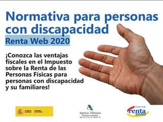 Normativa para personas con discapacidad Renta Web 2020