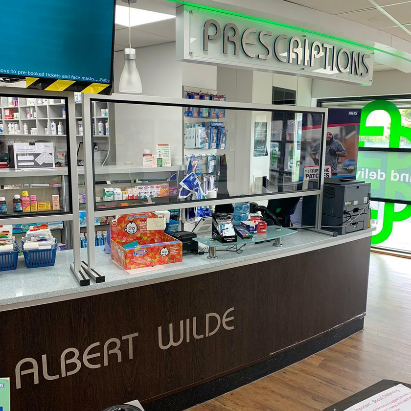 Screens designed for pharmacies and shops