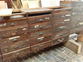 Antique Cabinets turned into Bespoke Salon Storage Unit