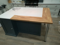 Center Island with Marble & Wood Top
