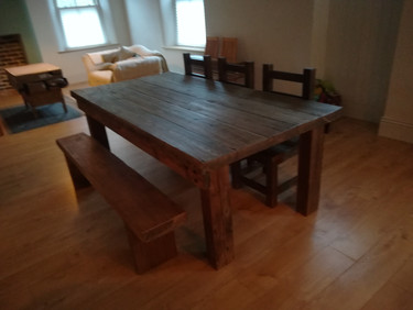 Bespoke Solid Wood Table, Chairs and Bench