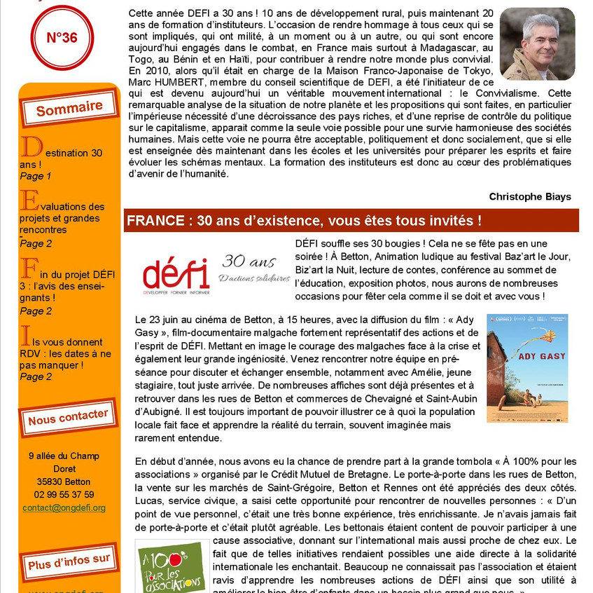 DÉFI Infos n°36, page 1