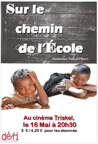 """Soirée cinéma : """" Sur le chemin de l'école"""" par Pascal Plisson le 16 Mai 2018"""