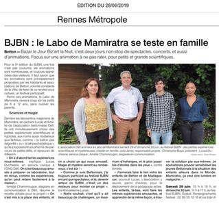 Du Service Civique à DÉFI au BJBN... Interview de Lucas sur Ouest France!