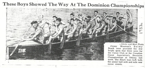 1937c SR WAR CANOE WINS @ OTTAWA JIM MOS