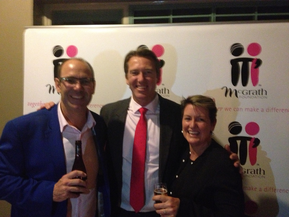 Mark Hayter (Left) McGrath Foundation president Glenn McGrath and Sue Rickleman (Right) at the event.