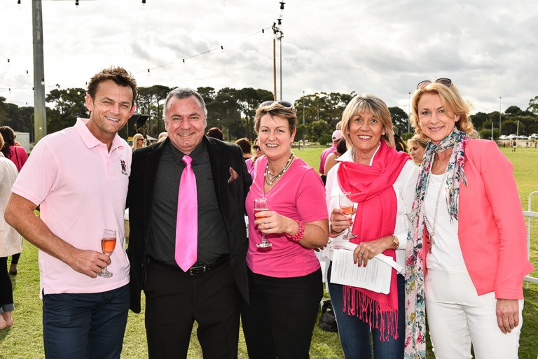 PwC Pink Tiger Day From left, Adam Gilchrist (McGrath Foundation Ambassador) Gerry Mabbarack (WCAFC President) Sue Rickleman and two party invitees