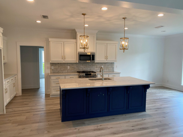 Open kitchen with oversized island bar