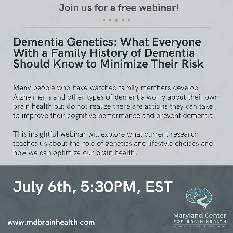 Dementia Genetics Free Webinar!