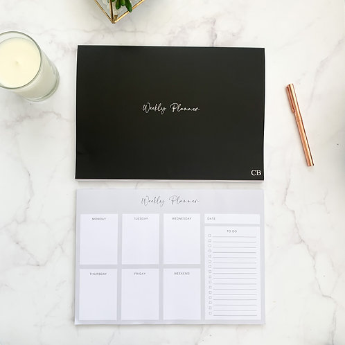 Black Weekly Planner Notepad