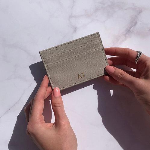 Grey Saffiano Leather Card Holder