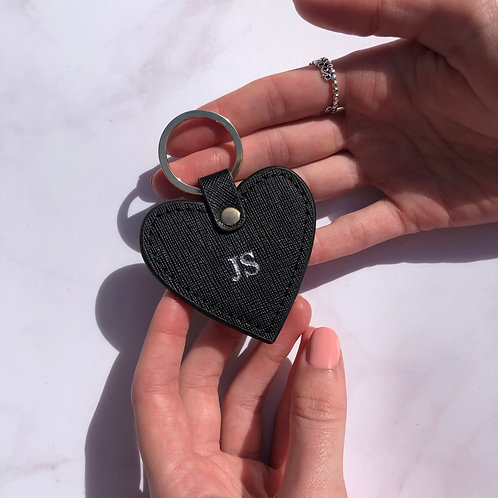 Black Saffiano Leather Heart Keyring