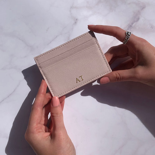 Pink Saffiano Leather Card Holder
