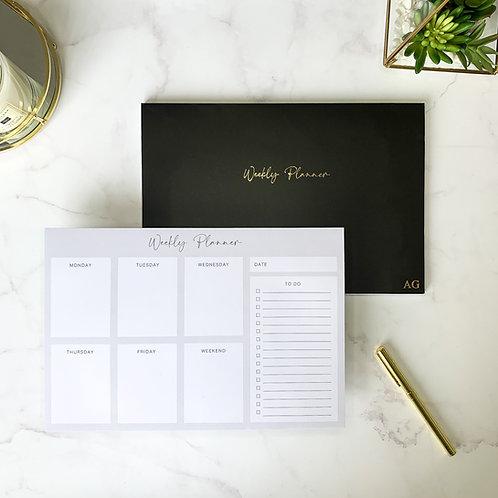 Black Weekly Planner Notepad